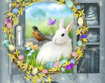 Easter Art - White Rabbit - Spring Wreath Art - Robin - Bird Art - Primitive Cabinet Art - Farmhouse