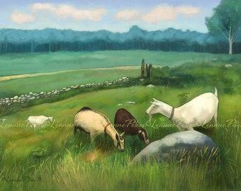 Goat Art - Farm Art - Goats in a Pasture - Pasture Art - Summer Fields
