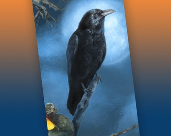Raven Moon Bookmark, Halloween Bookmark, Witchy Bookmark, Wiccan Bookmark