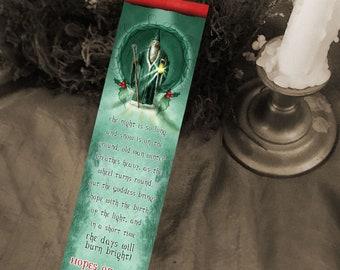 Yule Bookmark - Winter Solstice Art - Seasonal Bookmark - Bookmarker - Bookmarking - Bookmarks for Books - Book Mark - Reading Bookmark