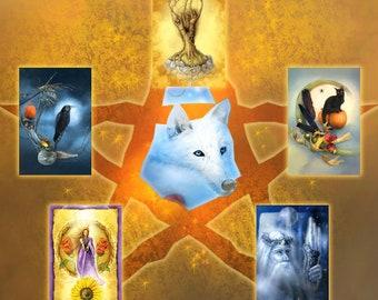 Witchy Postcard Set, Raven Cat Wolf Spirit Animal Postcard Set, Stationery Notecards, Goddess Tree Holly King Litha Cards