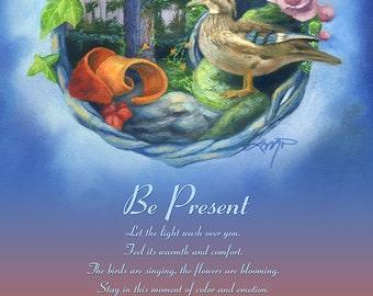 Duck Art Print, Tree Art Print, Spirit Animal Print, Tree Spirit Print