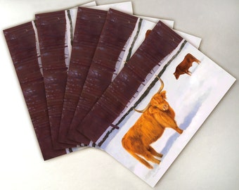 Highland Cow Christmas Card Pack - Pack of 5 - Greeting Card - Red Cow Card - Highland Cattle Art
