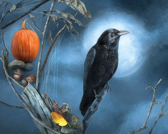 Raven Postcard, Halloween Postcard, Full Moon Witchy Postcard, Pumpkin Postcard