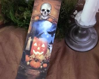 Halloween Skull Bookmark, Witchy Bookmark, Samhain Bookmark, Jack O'Lantern Rat Halloween Bookmark
