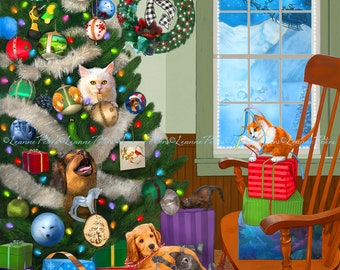 Christmas Art - Christmas Mischief - Kitten and Puppy Art - Seasonal Art - Christmas Decor