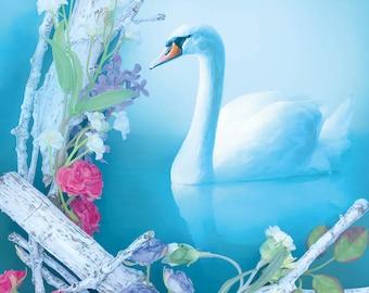White Swan Postcard, Pond and Flowers Postcard, Elegant Spring Art Postcard, Calming Blue Art Postcard
