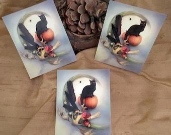 Black Cat Stickers, Halloween Pumpkin Stickers, Witchy Stickers, Samhain Stickers