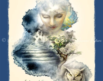 Dream Art - Owl Art - Bansai Tree Art - Vision Board Art