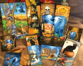Raccoon Halloween Gift Set, Black Cat Witchy Bookmarks Card Sticker Set, Samhain Gift Set, Spooky Bookmark Set