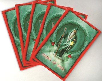Yule Cards - Pack of 5 - Low Holiday - Winter Solstice - Sabbat Cards