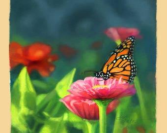 Monarch Butterfly Art Print, Summer Garden Print, Zinnia Art, Flower Art Print