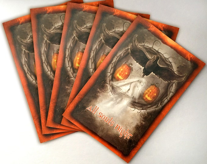 Featured listing image: Samhain Card 5-Pack, Halloween Cards, High Holiday Cards, Sabbat Cards