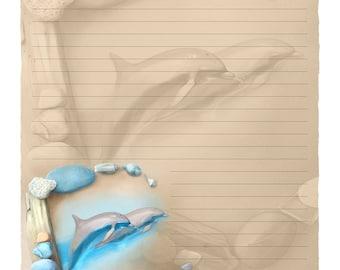 "Digital Stationery Design by Leanne Peters - ""Sea Angels"" - Seaside Art - Dolphin Art - Lined Stationery Art"