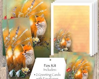 Fox Stationery Set, Red Fox Bookmark, Fox Stickers, Fox Greeting Cards