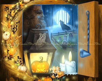 Halloween Art Print, Wolf Art Print, Pumpkin Art Print, Witchy Art Print