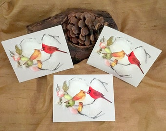 3 Cardinal Stickers - Cardinal Pair - Male and Female Cardinals - Valentine's Day Art - Heart Art - Cardinal Art Stickers