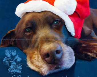 Chocolate Lab Art Print, Labrador Print, Chocolate Lab in Santa Hat Print, Christmas Dog Print
