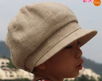 2ba05bf5333dd Metallic Thread (Gold or Silver Color) Natural Colour Cotton-Linen Summer  Gatsby Hat Newsboy Cap Toddlers