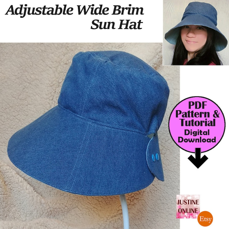 12cm Wide Brim DIY Adjustable Women Visor Sun Hat PDF Sewing  f068fc6bc98d