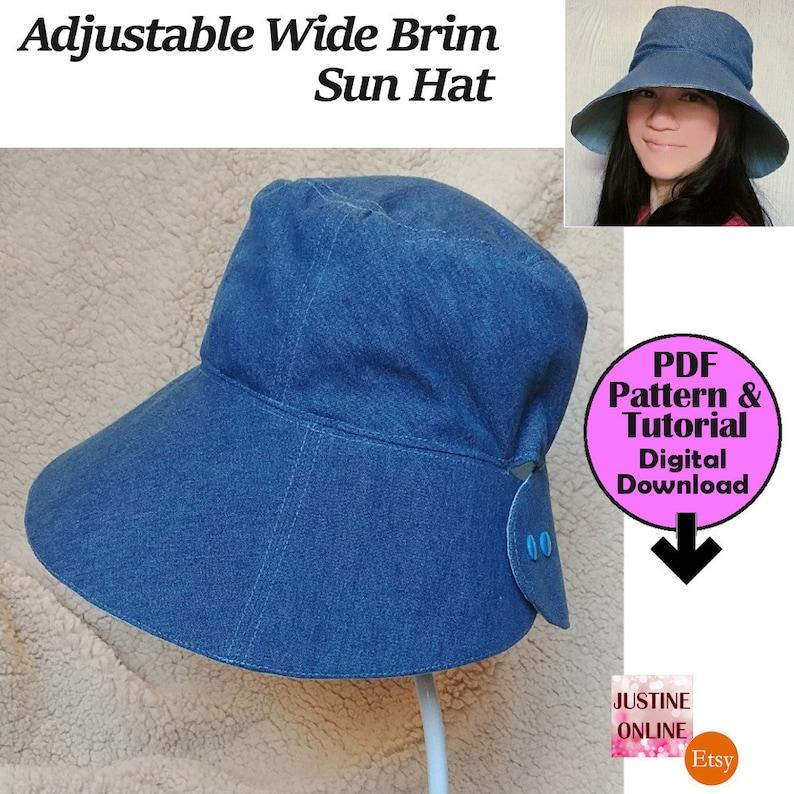 3e7d985d778 12cm Wide Brim DIY Adjustable Women Visor Sun Hat PDF Sewing