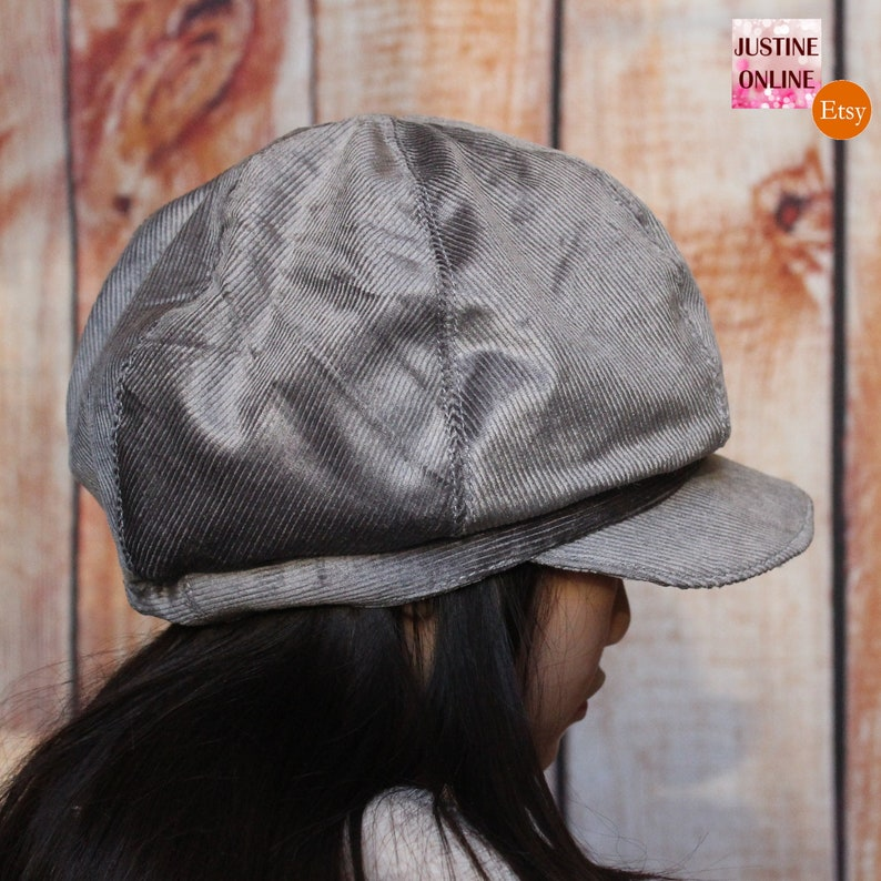 0eee0a77f46 Corduroy Grey Gray Lined Gatsby Hat Newsboy Cap. Handmade