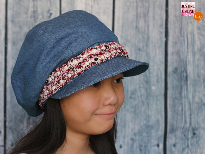 1adca9332 Summer Gatsby Hat Newsboy Cap Blue Denim with Tweed Trim Ribbon (Red and  Black) Custom Made Various Sizes Fashion Accessory for Girls Women