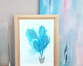Blue and White Modern Wall Art Prints / Blue Botanical / Modern Bohemian Style Home Decor  / House Warming Gifts / Watercolour illustration