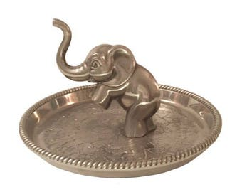 Vintage 70's SEBA Sterling Silver Plated Elephant Ring & Jewelry Holder/Dish/Tray