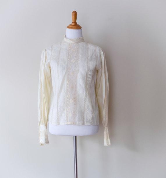 Vintage Edwardian Lace Stripe Blouse