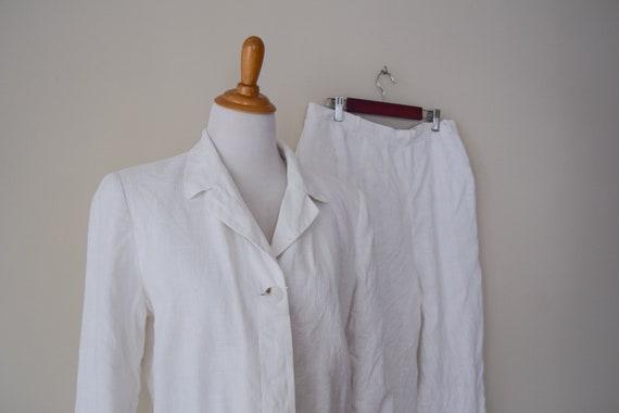 Vintage White Linen Pan Suit Set