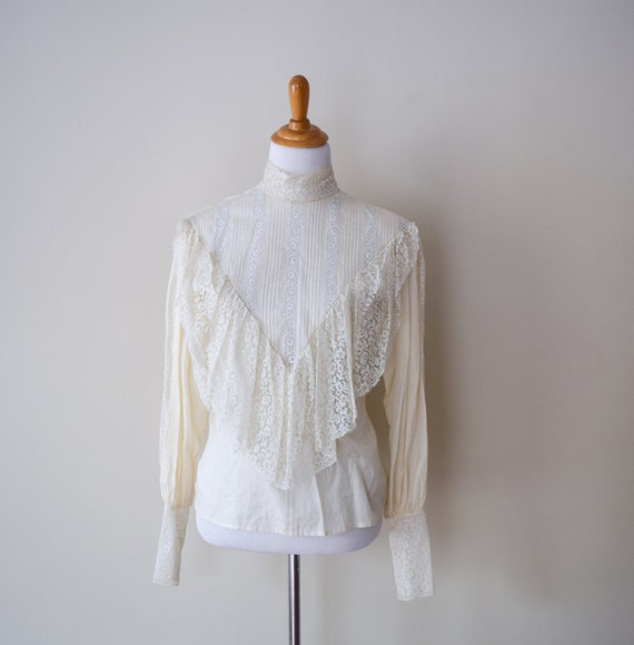 Vintage Edwardian White Lace Ruffled Blouse