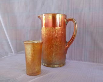 PITCHER and glass Iridescents / Pitcher and tumbler - Carnival glass Iridescent / Carnival Glass - tree bark pattern / Tree Bark Pattern