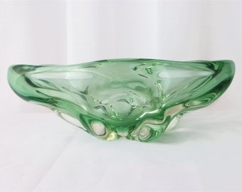 Bohemian/czech Glass Able Czechoslovakia Green Glass Fruit Bowl And Dishes Crazy Price