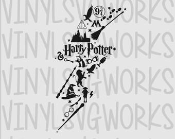 Harry Potter Lightning Bolt Collage SVG FILE