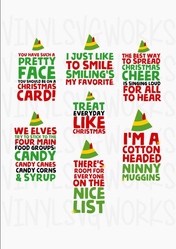 Elf Movie Quotes Svg File Pack Etsy