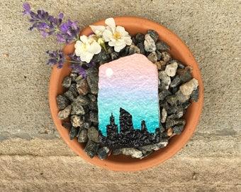 Ligne d'horizon Pastel Rock de peint à la main