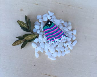 Hand Painted Striped Skyline Rock Pin