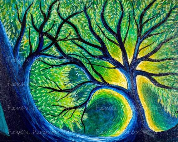 8x8 Print - Blue Tree