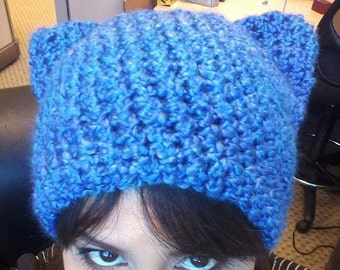 Blue Fuzzy Kitty Hat