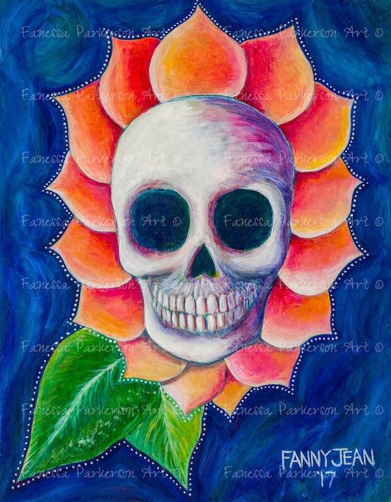 5x7 Print - Skull Petals
