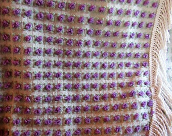 Elusive, Well Cherished Beauty ~ Thousands of Amethyst Rosebuds Scattered on a Morgan Jones Vintage Chenille Bedspread FULL SZ