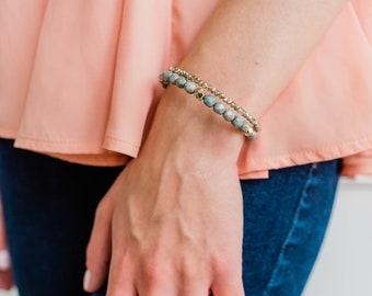 River Blue 2x Wrap Bracelet, Blue and Gold Double Wrap Bracelet, Unique Jewelry, Beaded Bracelet, Stack Jewelry, Beaded Jewelry