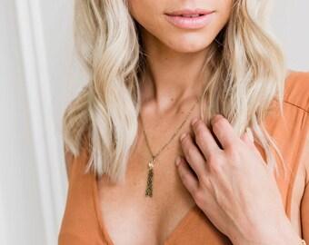 Bronze Tassel Short Necklace, Chain Necklace, Bronze Jewelry, Tassel Jewelry