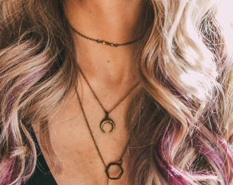 Bronze Crescent Moon Necklace, Short Necklace, Layer Jewelry, Boho Jewelry, Chain Necklace