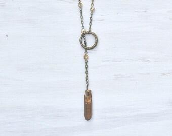 Quartz stone lariat necklace, brass jewelry, stone jewelry, y necklace, earth jewelry, unique, gift for her