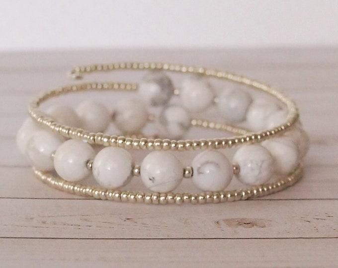White Beaded Triple Wrap Bracelet, Snow White, Wrap Bracelets, Beaded Jewelry, Gift for Her