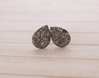 Dark Silver Teardrop Druzy Stud Earrings, Teardrop Jewelry