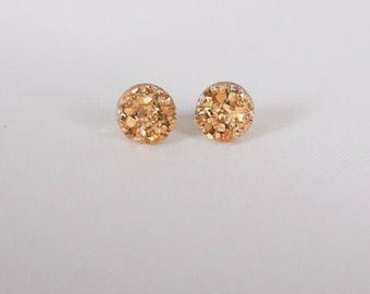 Druzy Stud Earrings, Resin Druzy Cabochons, Gold Druzy, Rose Gold, Druzy, Silver Druzy, Dark Grey Druzy