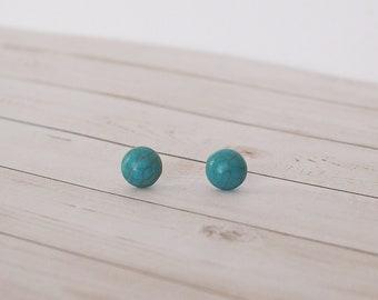 Turquoise Stone Stud Earrings, Minimal Jewelry, Stone Jewelry, Turquoise Earrings